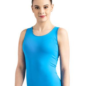 ERVY Langes Fitness-Top in blau mit eng anliegender Passform, ohne Ärmel
