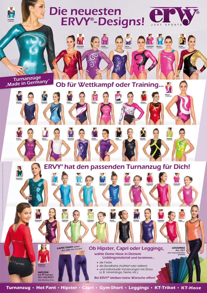 schöne Turnanzüge für Damen und Mädchen in verschiedenen Farben vom ERVY in Deutschland produziert
