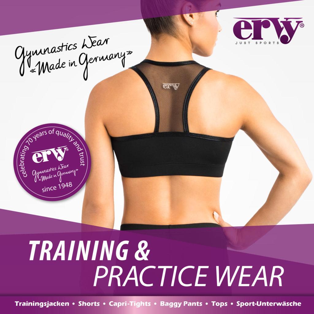 Produktkatalog der ERVY Training & WarmUp Edition mit Fitnesstops, Fitnesshosen, Shorts, Crop-Tops, Leggings, Trainingsjackenund Baggy-Pants