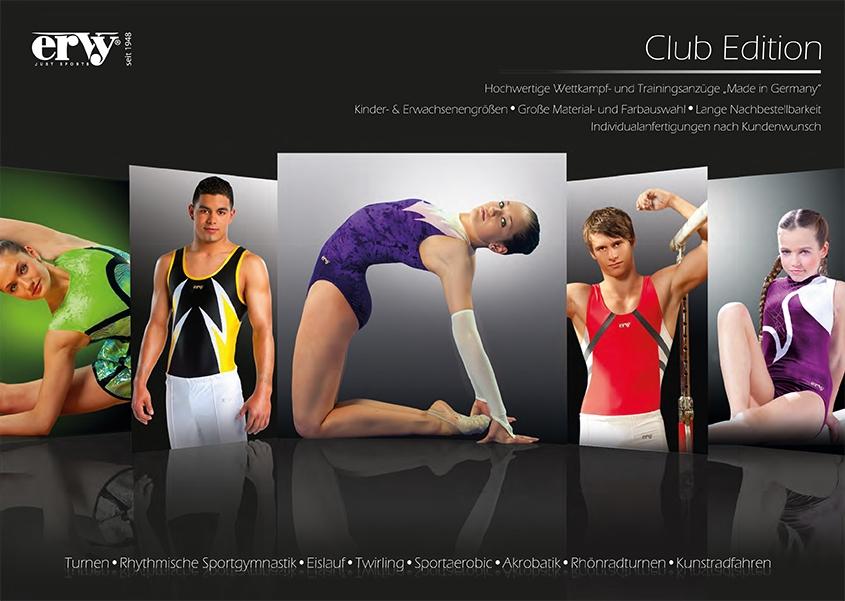 Produktkatalog der ERVY Club Edition mit Turnanzügen & RSG-Kleidern