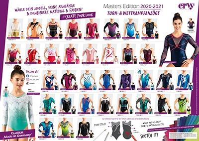 Die neue ERVY Masters Edition 2020-2021 mit bunten Farben, bedruckten Turnanzügen und vielen schönen Strassmotiven vom deutschen Hersteller ERVY Sports Fashion
