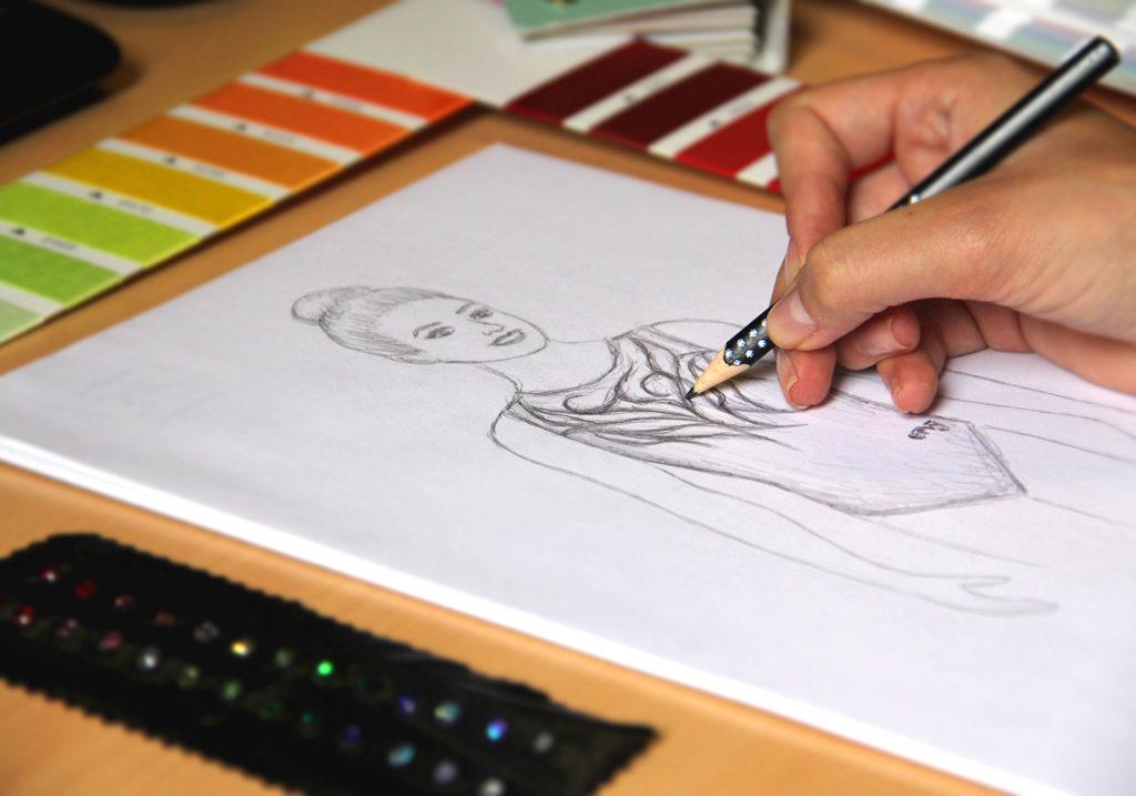 Handskizze eines bedruckten Turnanzugs vom deutschen Hersteller ERVY