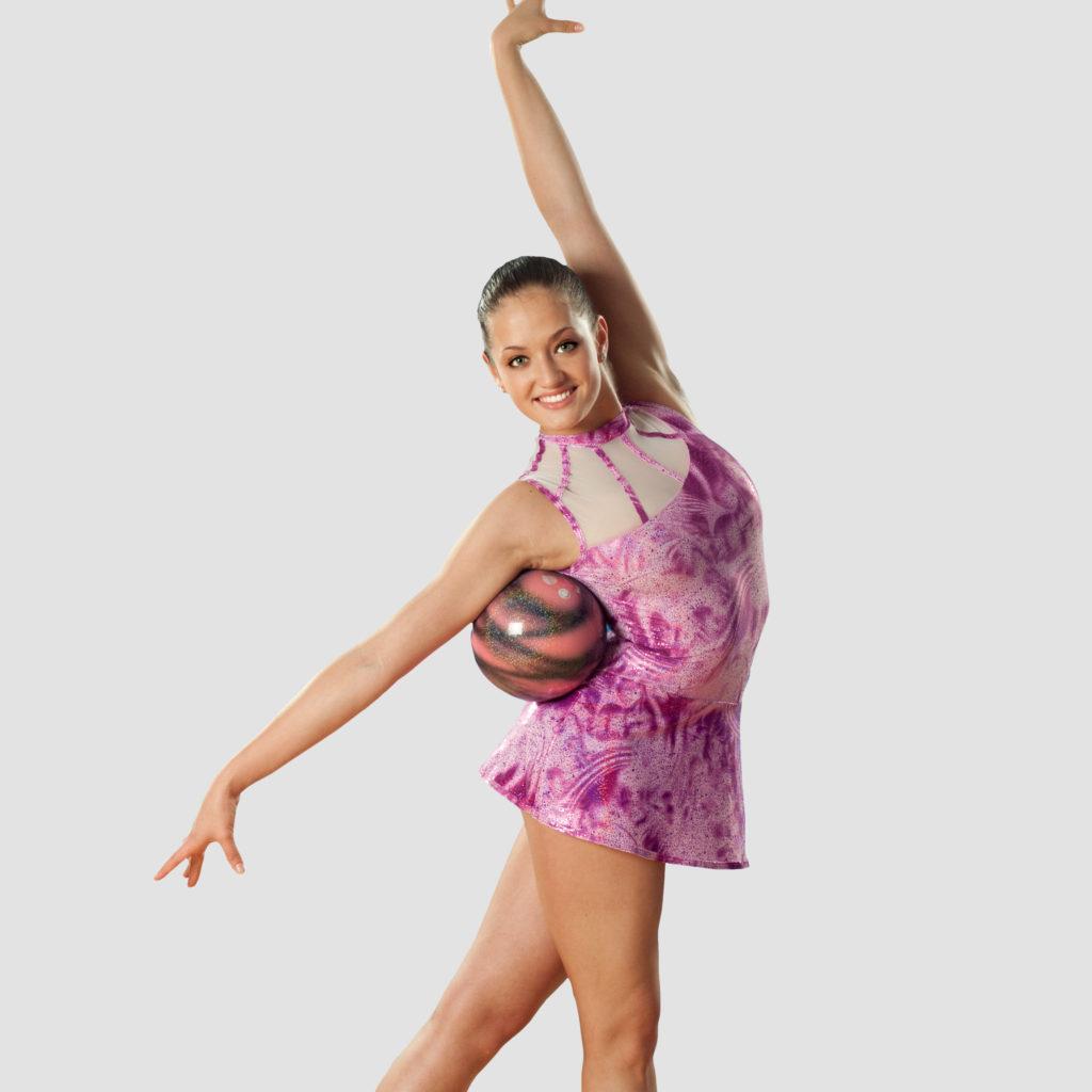 pinkes RSG-Kleid aus Glitzerstoff vom deutschen Hersteller ERVY, Turnanzug mit Rock für rhythmische Sportgymnastik und Akrobatik