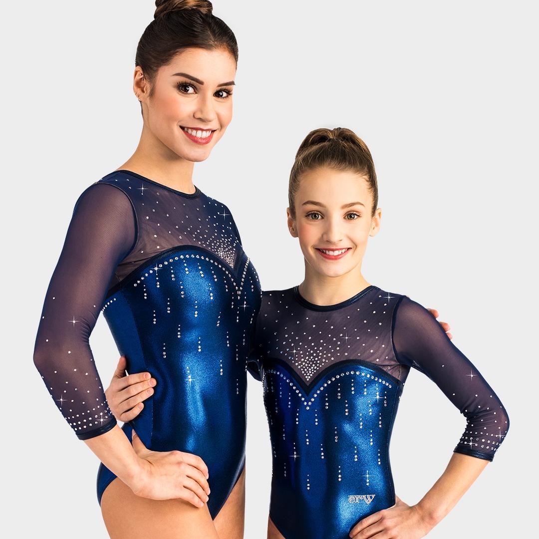 schöner blauer Turnanzug mit Tüll und viel Strasssteinen für Damen und Mädchen vom deutschen Hersteller ERVY
