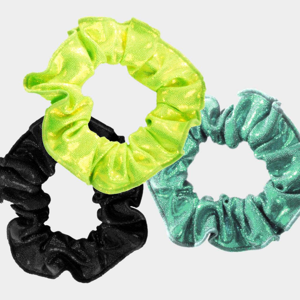 ERVY Accessoires wie Haargummis aus Lack Shine mit Glitzerfolie in allen Farben