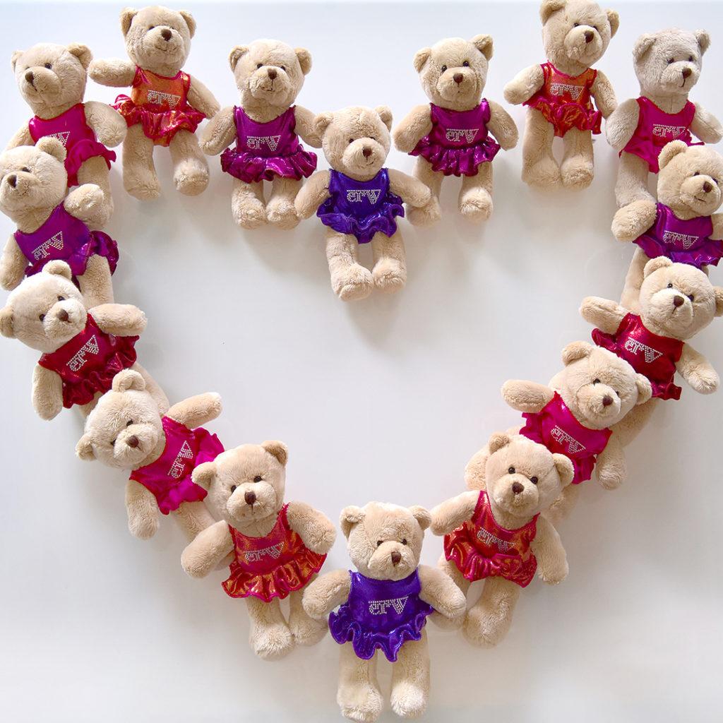 ERVY Teddybären mit Turnanzug und Röckchen in allen Farben