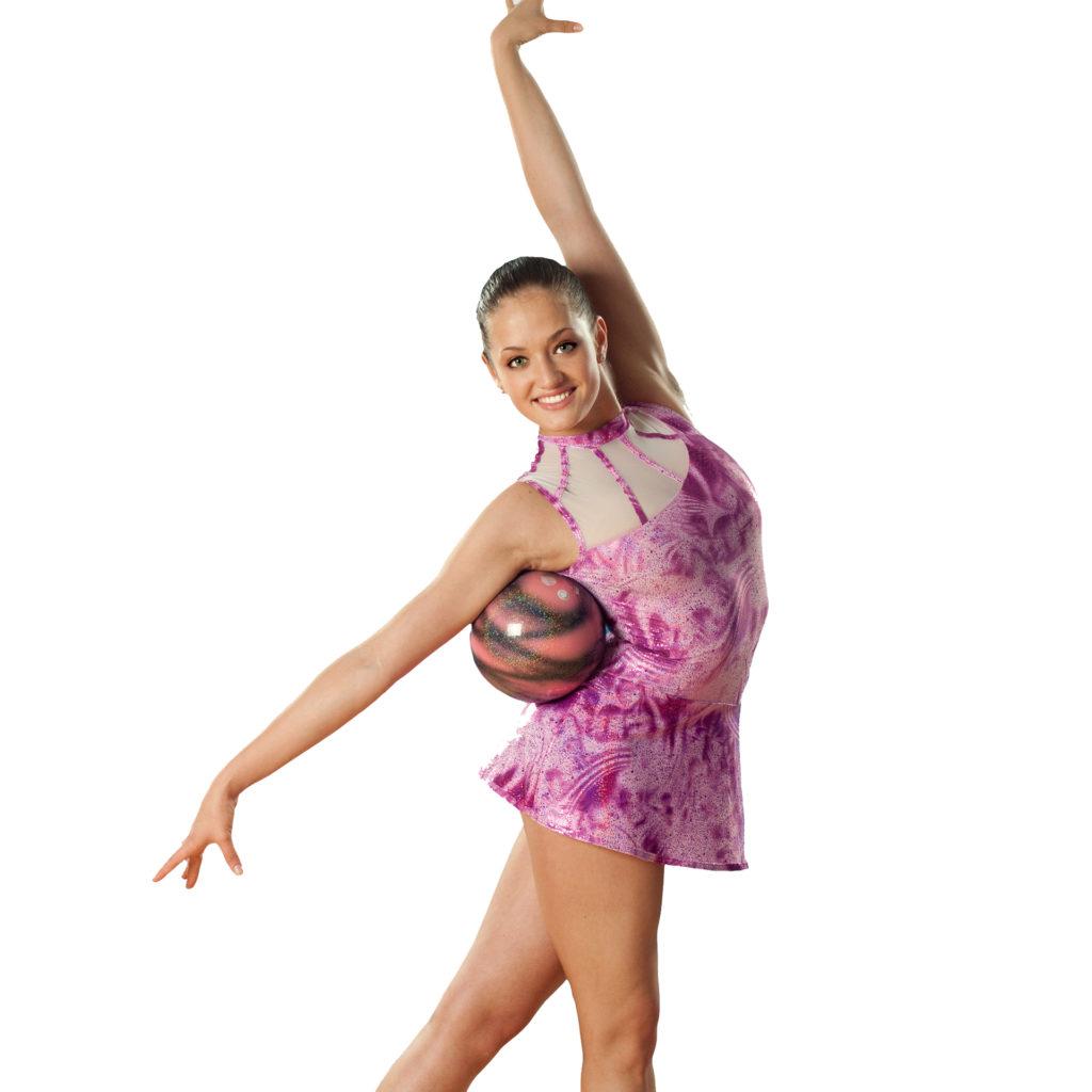 RSG-Kleid für Rhythmische Sportgymnastik mit Rock in Pinktönen und Rose mit Tüll oben und ohne Arm vom deutschen Hersteller ERVY